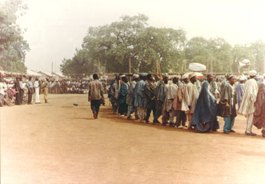 Bawku, Nothern Ghana, 1993.The main festival in the town of Bawku is Saamenpied. Here the men dance in their brightly colored smocks to celebrate the event. Photo by Peace Corps Volunteer Wayne Breslyn.
