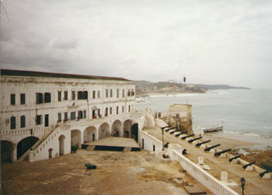 Cape Coast, Ghana, 1993. Cape Coast castle is one of the old forts along the coast of Ghana once used for slave trading. Photo by Peace Corps Volunteer Wayne Breslyn.