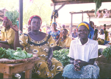 Bawku, Northern Ghana, 1992. Market is made up of sections which sell different items. Above is the salad section. The women in the picture sell only lettuce. Photo by Peace Corps Volunteer Wayne Breslyn.