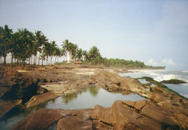 Elmina, Ghana, 1993. Once called the Gold Coast, Ghana has many beautiful beaches. Tidal     pools form at high tide and are full of interesting creatures. Photo by Peace Corps Volunteer Wayne Breslyn.