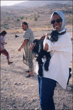 PC-LCF Uhod, Abu Motasem, and village girl in theWadi Hedan Canyon.  Near El-Greyat, Beni-Hamida Mountains, Jordan.